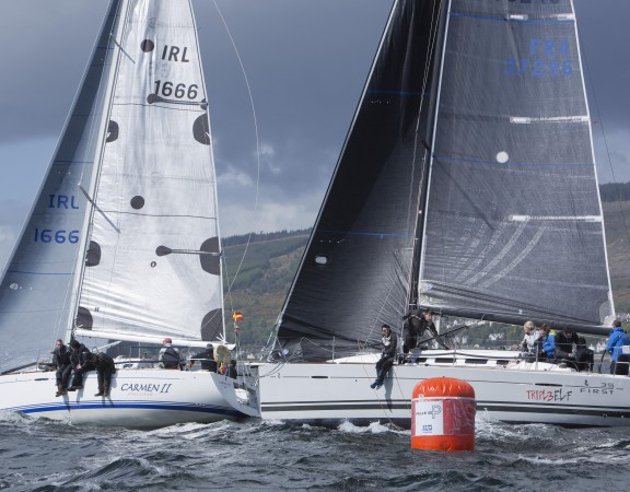 Second day of the Pelle P Kip Regatta 2017 run by Royal Western Yacht Club sailing out of Kip Marina on the Clyde.   RC35 Class winner Triple Elf, Christine Murray  Image Credit Marc Turner
